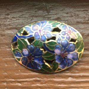 Cloisonné flowered pin